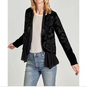 Zara new embroidered medium m velvet jacket bead